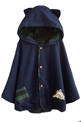 Aza Boutique süßer Damen-Kapuzenumhang mit Katzenohren aus Tweed, geknöpft Gr. Einheitsgröße, 2_Navy