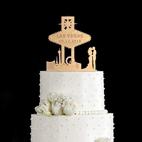 Wooden/acrylic Las vegas wedding cake topper,Las vegas cake topper,Las vegas wedding,Las vegas sign cake topper -