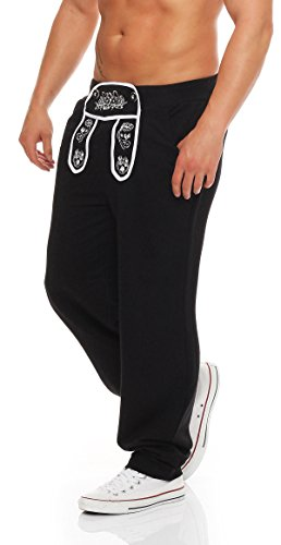 Hoppe Gennadi Herren Sporthose im Trachtenlook (M, schwarz)