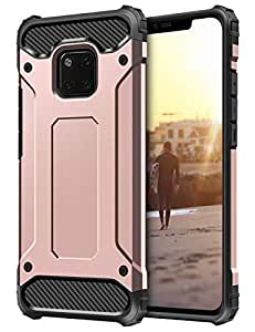 Coolden Rugged Tough Dual Layer Armor Case for Huawei Mate 20 Pro Protective Case Heavy Duty Hard Back Shock Absorption Protection Shockproof Case Phone Case Cover for Huawei Mate 20 Pro (Rose Gold)