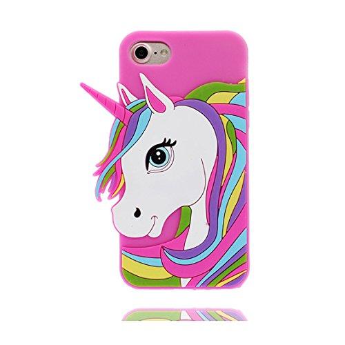 iPhone 6 Custodia, iPhone 6 6s Copertura 4.7, | TPU durevole Case Per le ragazze delle signore Ragazzi | Gomma morbida del gel/ Cover / evidente/ unicorno unicorn bianca Rosa