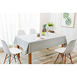 Tenrany Home Rectangulares Manteles Algodon Lino, Antimanchas Mantel de Mesa Impermeable Lavables Color Sólido Tablecloth para Decoración del Hogar Cocina Oficinas(Gris Claro, 130 * 180cm)
