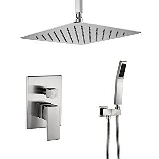 Artbath 12 inch Brushed Nickel Shower Set Ceiling Mount with Stainless Steel Rain Showerhead, Handheld Shower, Roungh in Shower Faucet Valve Body Complete Rainfall Shower System for Bathroom