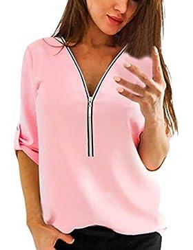 beautyjourney Maglietta Donna Manica Lunga estive Ragazza t Shirt Donna T-Shirt Camicia Camicetta Tops Ragazza...