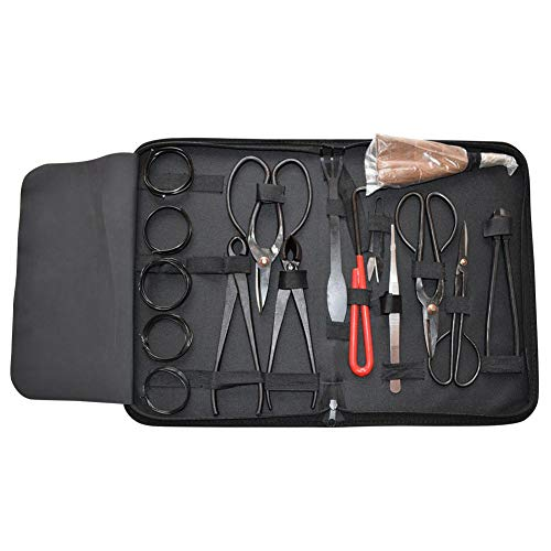 Luckguy 16tlg Garten Bonsai Werkzeug Set Carbon Steel Kit Cutter Schere mit Nylonetui