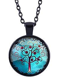 Papaya'-Argent Amant Collier avec pendentif Cercle Collier Opale Vie