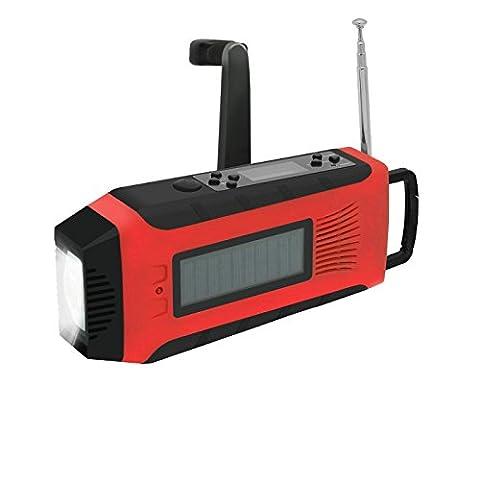 GuDoQi Multifunktionale Solar Hand Kurbel Radio Dynamo Hand Kurbel Powered NOAA Wetter Radio 1W LED Taschenlampe Support Telefon Aufladen Rote Farbe