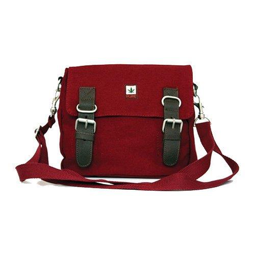 Hanf Messenger Tasche (PURE HF-0029 Hanf Baumwolle kombinierte Schultertasche und Gürteltasche H19 x B21 x T4,5, Schwarz)
