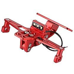 Kennzeichenhalter Qiilu Tuning Kennzeichenhalter Halterung aus Aluminiumlegierung für Motorräder mit weißen LED-Leuchten Rot