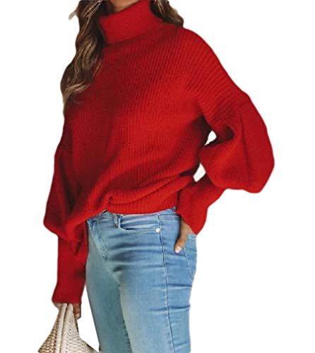 CuteRose Women's Puff Sleeve High Neck Pullover Solid Color Trendy Knitwear Red S -