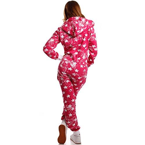 Crazy Age Jumpsuit Overall Weihnachtsmotive Einteiler Ganzkörperanzug Stars one Piece (XS=34, Pink) - 3