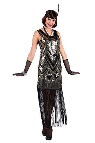Charlston-Kostüm Damen mit Fransen Elegantes Damenkostüm Silvesterkleid Tänzerin Showtanz Glamour 20er Jahre Karneval Fasching hochwertige Verkleidung Größe L Gold