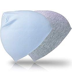 LIFENEY 2 Baby Mützen I Bequeme Babymütze aus Reine Baumwolle I Kindermütze für Junge und Mädchen mit Kopfumfang 40 - 55 cm (Hellblau/Grau)