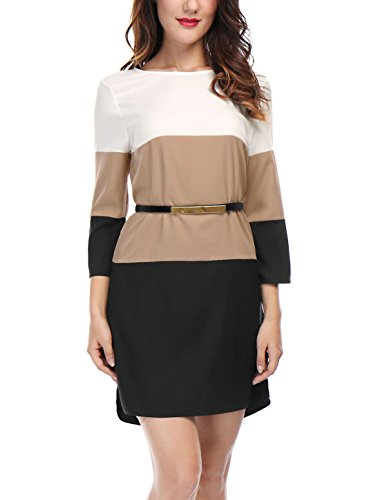 X-Small , Black : Allegra K Women's 3/4 Sleeves Color Block Above Knee Belted Shift Dress