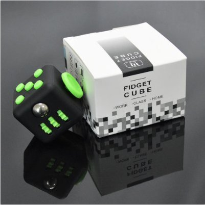 Fidget Cube Toy For Stress Relief Attention Anxiety Focus For Children And Adult Special Gift ABS (Black-Green)