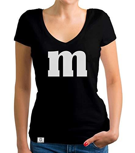 shirtdepartment - Damen T-Shirt V-Ausschnitt - M und M schwarz-Weiss M