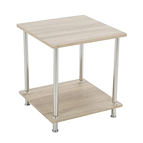 Modern Oak Effect Square End Table Laptop Stand Side Table Sofa Table Display Table in Light Natural Wood White Washed Oak Sonoma Oak Effect