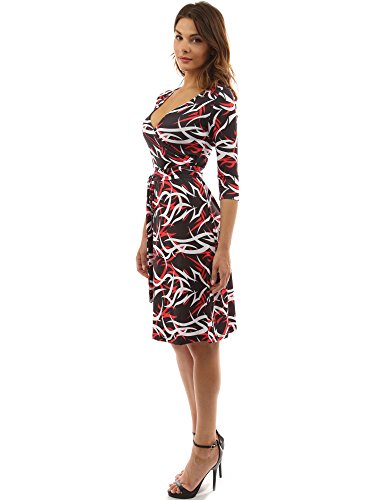 PattyBoutik Damen geometrisches faux wrap Sonnenkleid mit V-Ausschnitt Red, Black and White