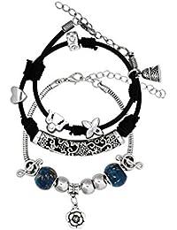 Bijou Vertex 2 X Silver Rose Charm Andore Bracelet With Rubber Cord Charms Bracelet