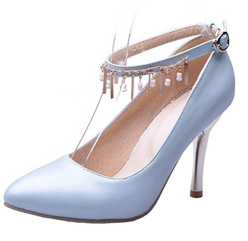 Voguezone009 Mujeres Tire Shimmer Zapatos De Tacón Alto De Color Azul Surtido De Ballerinas De Color Azul