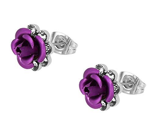 Yoursfs Cristal hermosa rosa violeta morado azul rojo flor Pendientes chapado en oro /blanco de regalo para las mujeres