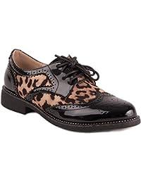 Primtex Derbies Femme Verni Noir imprimé léopard Animalier avec Petit Talon  carré ... 3740a6984c67