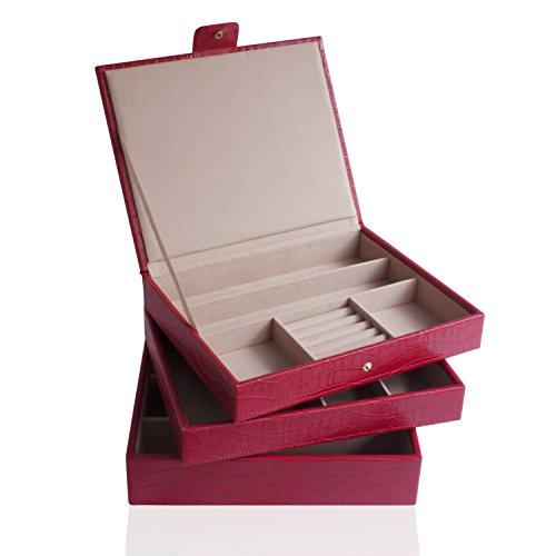 Cordays - Etalage à Bijoux Ensemble de 3 Etages Empilables Fait Main en Qualité Premium : Edition Limitée Collection Fashion. Rouge CDL-10062