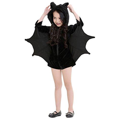 Zhuhaixmy Cozy Bat Jumpsuit Halloween Cosplay Kostüm für Mädchen Frauen (Mädchen Für Halloween Kostüme City)