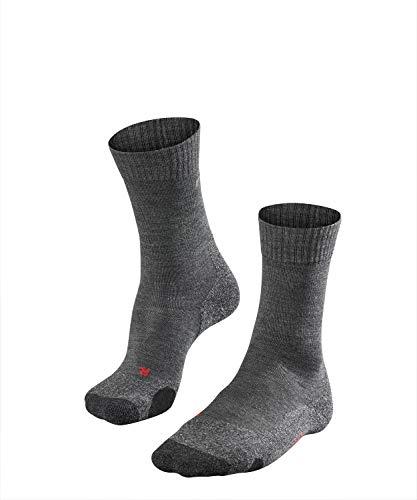 FALKE TK2 Herren Trekkingsocken / Wandersocken - grau, Gr. 44-45, 1 Paar, Merinowolle, mittelstarke Polsterung, feuchtigkeitsregulierend -