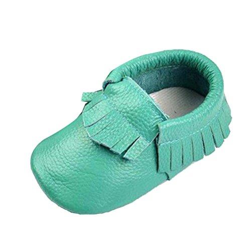 SMITHROAD Baby Mädchen Baby Jungen Unisex Lauflernschuhe Moccasin Krabbelschuhe Hausschuhe mit Troddel Echtes Leder 0-24 Monate Lake- Blau