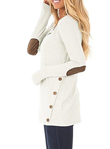 NICIAS Damen Seitliche Tasten Lange Ärmel Lässige Rundhalsausschnitt Ellbogen Aufgepasstes Sweatshirt Weit T-Shirt Blusen Tunika Tops Weiß