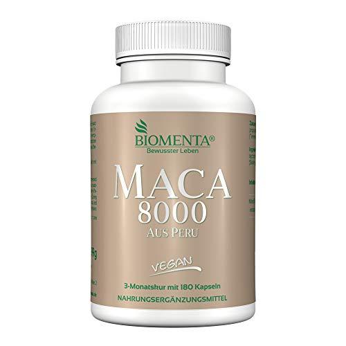 Biomenta Maca 8000 | PURO MACA Estratto 10:1 | 180 maca-kapseln | 3 SPA MESE Vegano