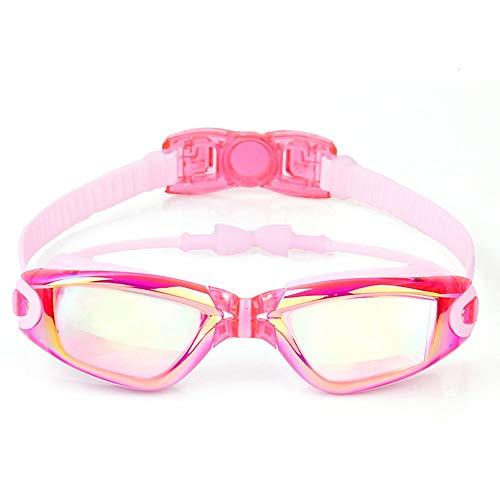 Szblk wasserdichte Anti-Fog-Brille Anti-UV-Schwimmsportbrille 400 Transparente Schutzlinse HD-Schwimmbrille Geeignet for schwimmende Kinder (Color : Pink)