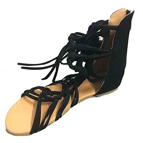 men,Schuhe Hohe Stiefel Shoes Schuh Böhmen Sommerschuhe Sandaletten Geflochten Frauen Sommer Offene Flach Badesandalette Reißverschluss Elegante Strandschuhe (36, Schwarz) ()
