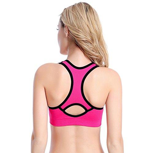 Brightup Femmes Sport Yoga couverture complète Soutien-gorge Rembourré Extensible Tops Rose
