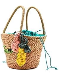 Bolso de Mujer Bolsa de Playa de piña Bolsa de Paja Viaje Vacaciones Bolso de Hombro