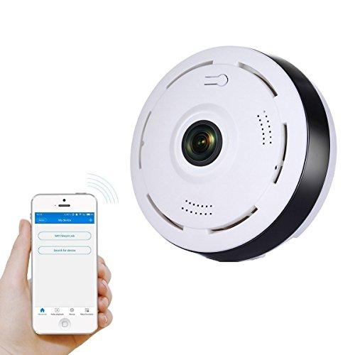 Caméra IP 1080P , MEIBEI Caméra de Surveillance WIFI Intérieur Caméras de sécurité avec 360 Degrée Panoramique, Infrarouge Vision Nocturne, Audio Bidirectionnelle, Détection de Mouvement,Alerte d'information, Voir à Distance - Blanche