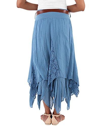 KRISP® Femmes Maxi Jupe Uni Bohème Hippie Chic Bleu denim (7844)