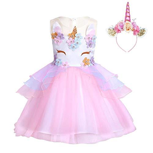 FONLAM Vestido de Fiesta Princesa Niña Bebé Disfraz de Unicornio Ceremonia Cumpleaños Vestido Infantil Flores Carnaval Niña Cosplay (Rosa, 9-10 Años)