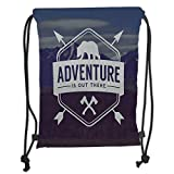 OQUYCZ Drawstring Sack Backpacks Bags,Adventure,Adventure Logo with a Motivational Quote Hatchets and Bear Mountain Landscape Decorative,Stale Blue Soft Satin,5 Liter Capacity,Adjustable Strin