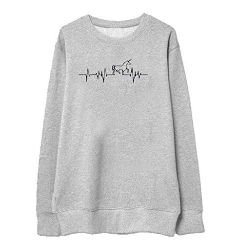 Felpa Unicorno Tumblr Donna Ragazza Casuale Sportive Girocollo Pullover a Maniche  Lunghe Felpe Stampa Animali Sweatshirt