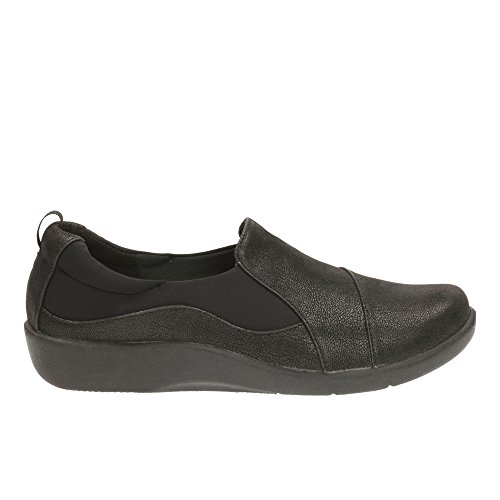Clarks Women's Cloud Steppers Slip-On Flats Shoes Sillian Paz Black