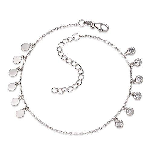 Anker-Fusskettchen Silber Zirkonia 20 cm, Beschichtung: rhodiniert, Kettenart: Anker, Länge (cm): 20 cm, Länge verstellbar bis: 25 cm, Materialstärke: 0.7 mm, Verschluss: Karabiner