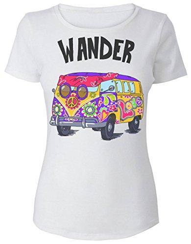 Wander Hippie Van With A Peace Sign Camiseta de mujer Women's T-Shirt