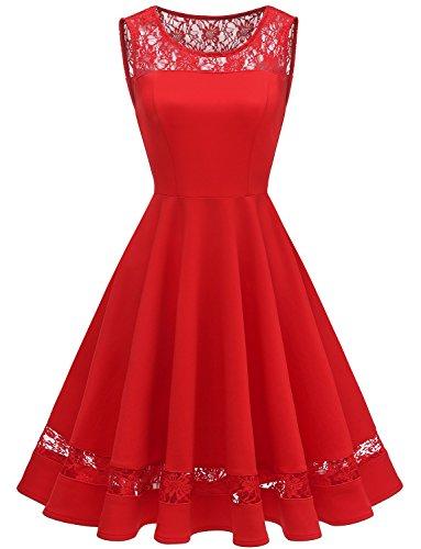 GardenWed Damen 1950er Elegant Spitzenkleid Kurzarm Cocktail Abendkleid Knielang Festlich Partykleid...