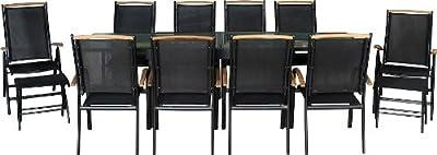 IB-Style - DIPLOMAT XXL Topqualität Gartenmöbel 13-Teilig | Fussbänke inklusive | Schwarz - Schwarz - Teak | Ausziehtisch bis 135-270 cm | schwarzes Glas | Gartengruppe Gartengarnitur Sitzgruppe Gartenmöbel Set