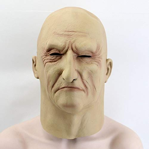 HXLF Halloween Lustige Maske Realistische Latex Alter Mann Maske Männliche Verkleidung Halloween Cosplay Kostüm Kopf Gummi Party Kostüme Bösewicht Witz Requisiten (Einfach Männlichen Bösewicht Kostüm)