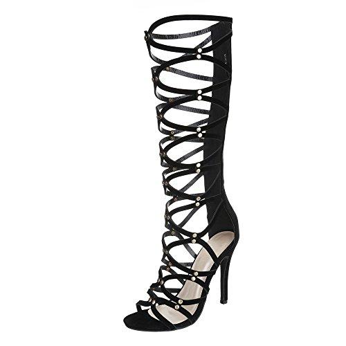 Lack High Heel Stiefel (Ital-Design High Heel Sandaletten Damen-Schuhe Plateau Pfennig-/Stilettoabsatz High Heels Reißverschluss Sandalen/Sandaletten Schwarz, Gr 37, 6117-P-)