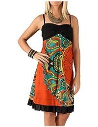 9d019030b53 LE ORANGE MOON Robe Courte - Bretelles Fines - Coton - Imprimée - Orange  Noir