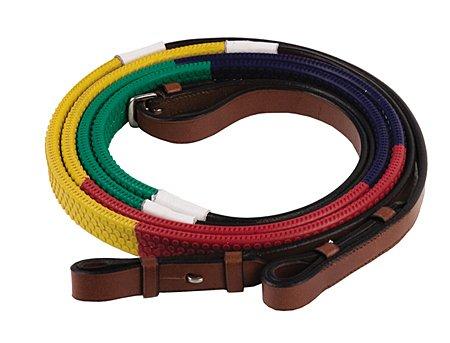 Inglés Tack Hdr Rainbow–Riendas de entrenamiento verde/azul marino/rojo/amarillo caballo